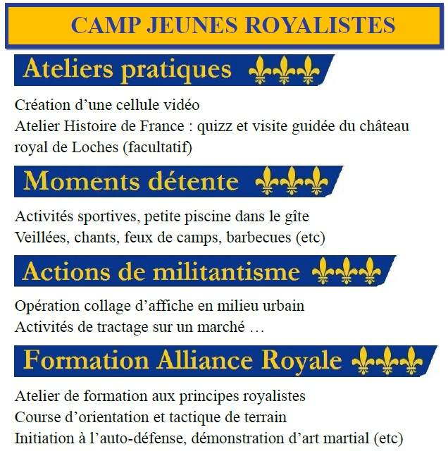 Inscription au Camp Jeunes Royalistes