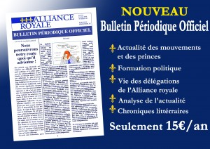 Abonnement au bulletin périodique officiel de l'Alliance Royale