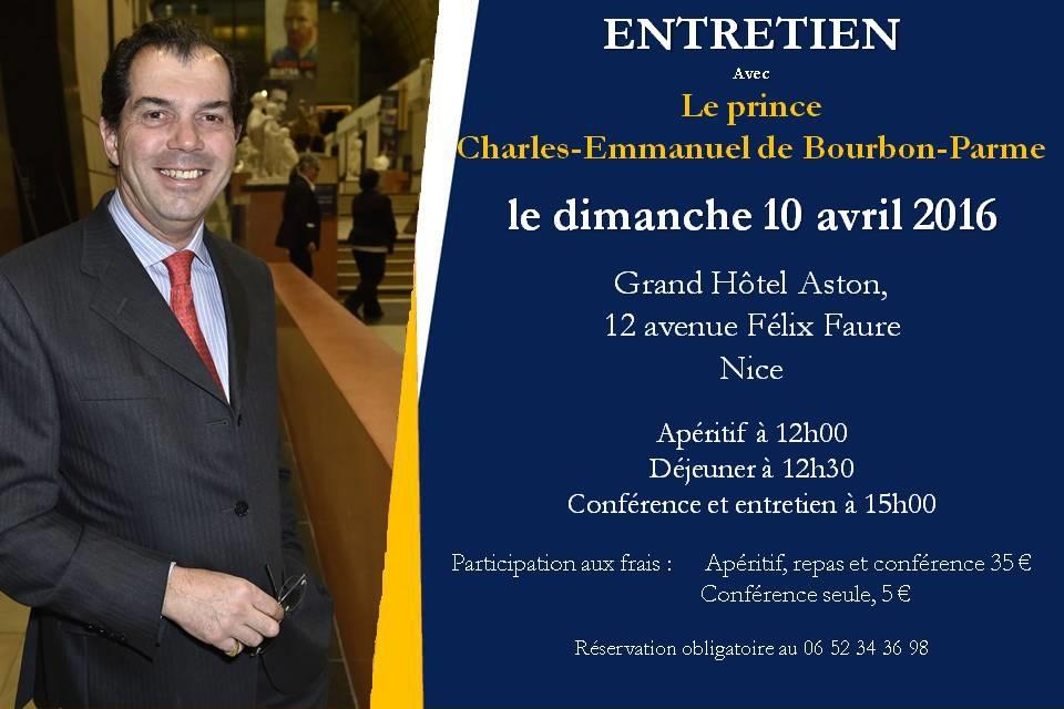 NICE: Entretien avec SAR Charles-Emmanuel de Bourbon-Parme